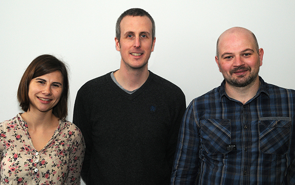 left to right: Charlotte Apps, Andrew Leach and Deáglan O Donghaile