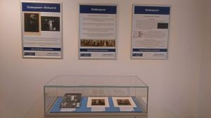 Exhibition case with posters